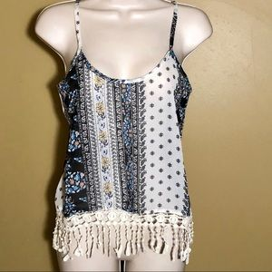NWT cropped sheer tank top with fringe